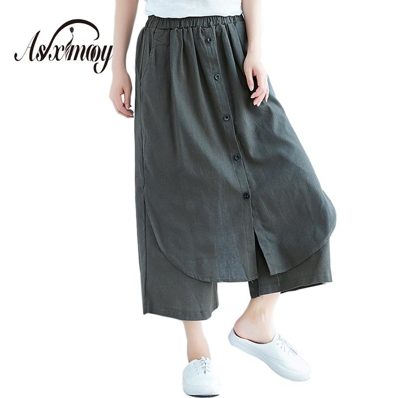 0033b1a1c670c6 Plus Size 2018 Summer New Women's High Waist Cotton Linen Wide Leg Skirt  Pants Loose Tousers Women Casual Pants Pantalones Femme