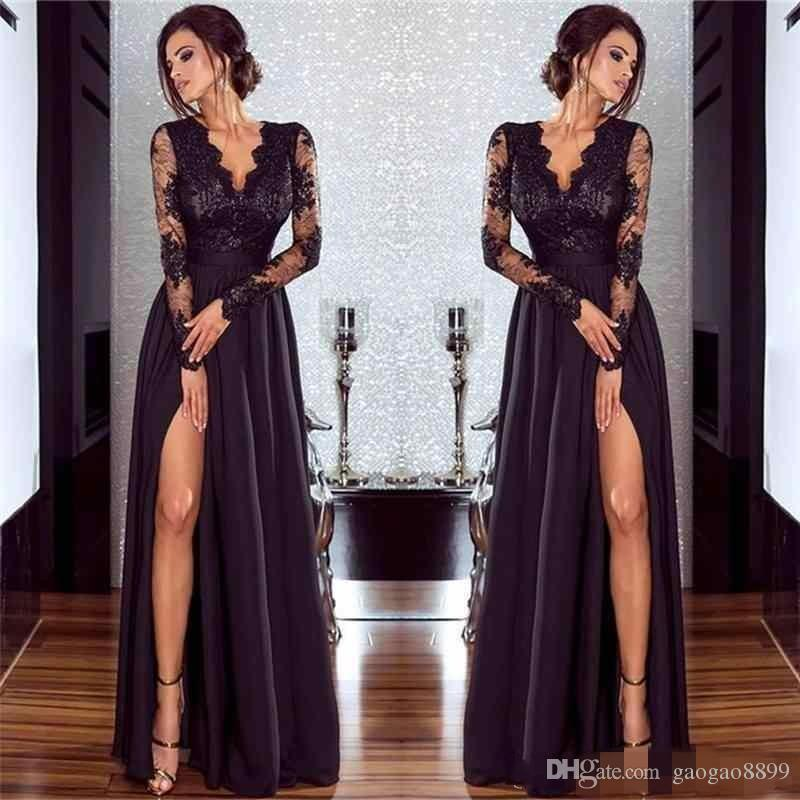 2019 Sexy Black Prom Dresses Long High Side Split Lace V Neck Zipper Back Floor Length Formal Evening Prom Gowns