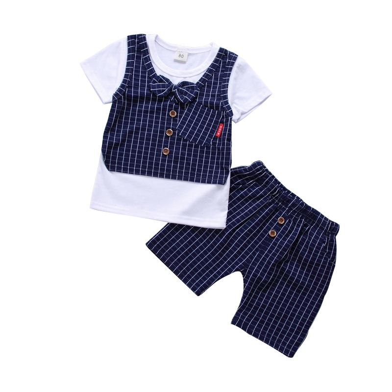 f0d44e698 2019 Hot Sale Baby Boy & Girl Clothing Children Summer Clothes British  Style With Bow Knot Kids Boy Clothing Set T Shirt+Pants From Yohkoh, $20.19  | DHgate.