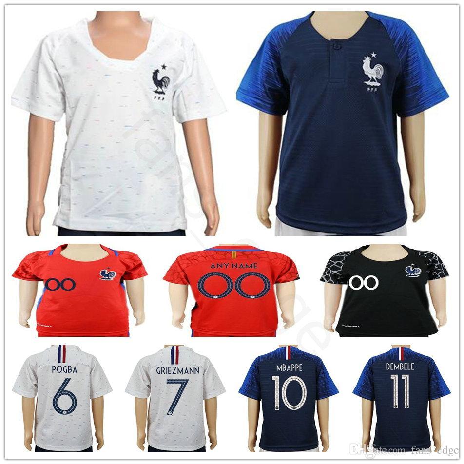 big sale 60c22 b1b5b Kids POGBA Soccer Jersey 2018 World Cup 18 19 PAYET DEMBELE MBAPPE  GRIEZMANN KANTE National Team Youth Football Shirts COMAN HOME AWAY