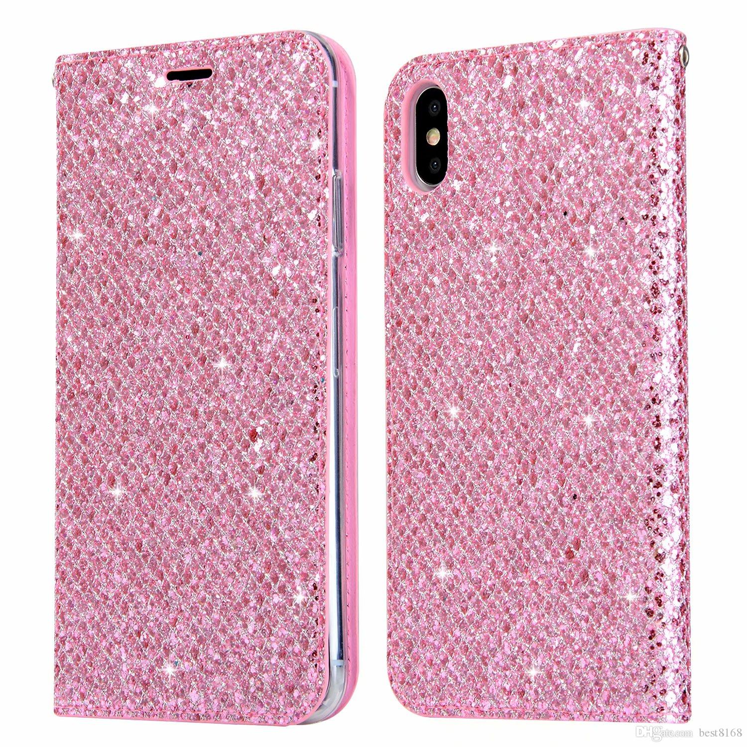 huge selection of 730db 64fde For Huawei P20 Pro P9 P10 Lite Magnetic Closure Leather Wallet Case  Galaxy(A8 Plus A7 A5)2018 Bling Sparkle Glitter Suck Phone Flip Covers