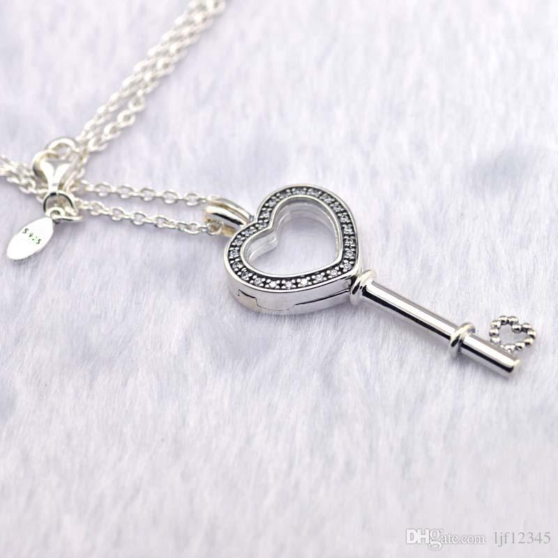 El Día de San Valentín Locket Flotante Corazón Clave Collar 925 Collar de Joyería de Plata Esterlina Colgante Para Mujer Joyería Europea
