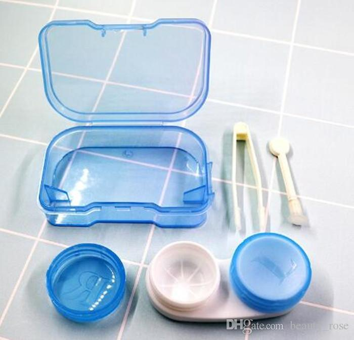 Random Color Fashion Best Transparent Pocket Plastic Contact Lens Case Travel Kit Easy Take Container Holder Hot sale Epacket Free