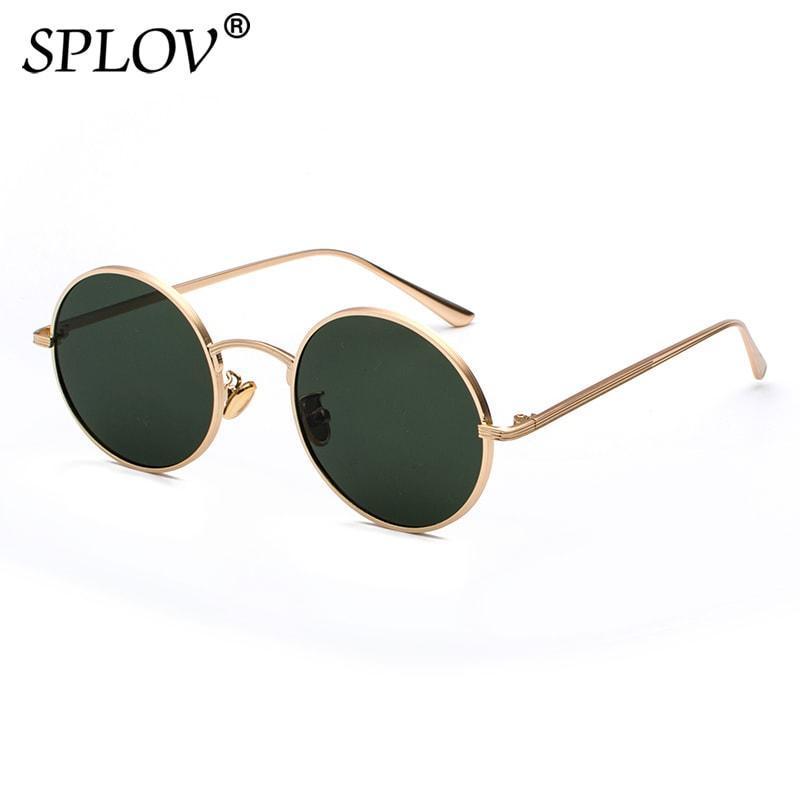 33f1698d3a89c Compre SPLOV Vintage Homens Óculos De Sol Das Mulheres Retro Estilo Punk  Armação De Metal Redondo