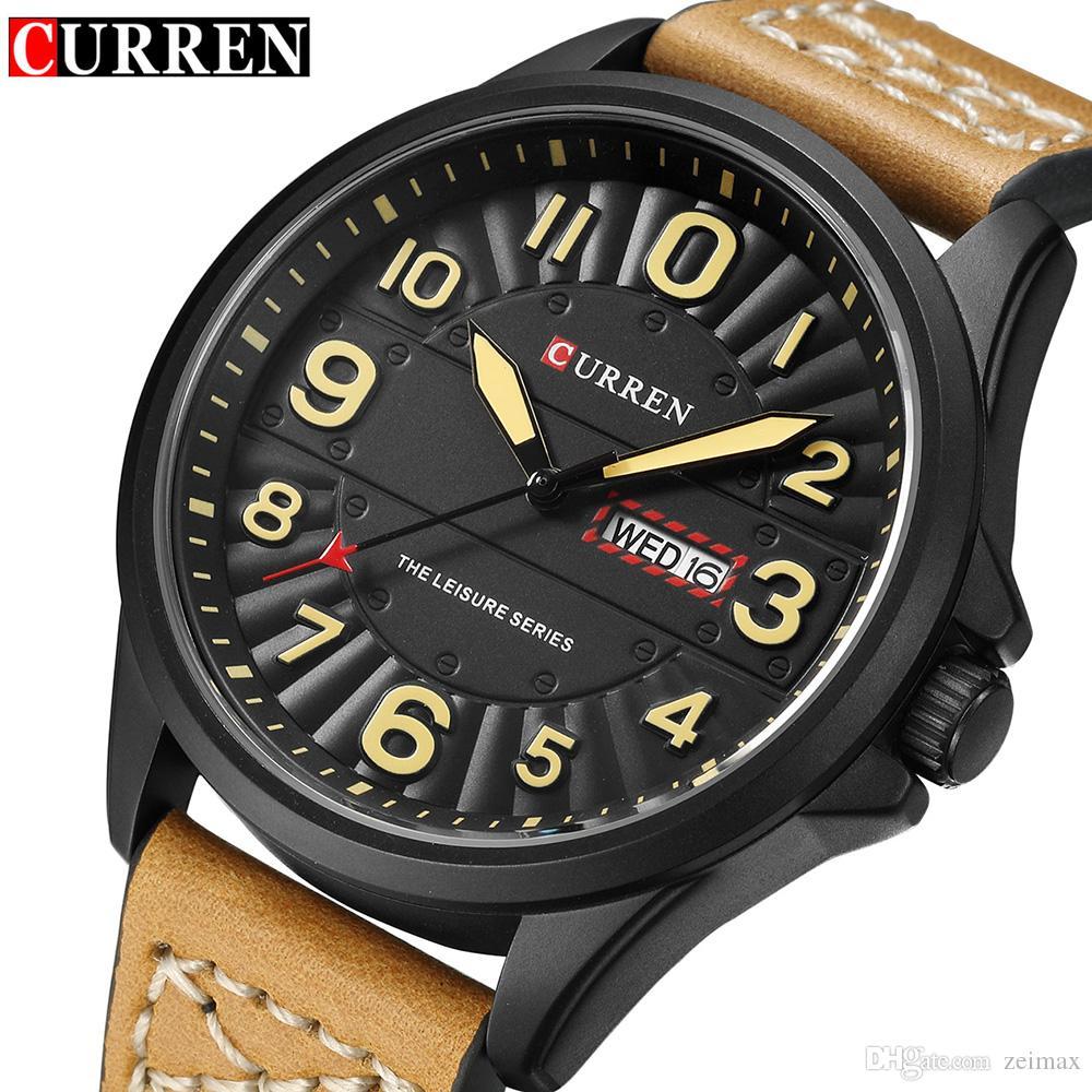 bac473e1b65 Compre Curren Luxo Militar Relógios De Quartzo Homens Casuais Analógico  Militar Sports Watch Relógio De Quartzo Relógio Masculino Relógios De Pulso  Frete ...