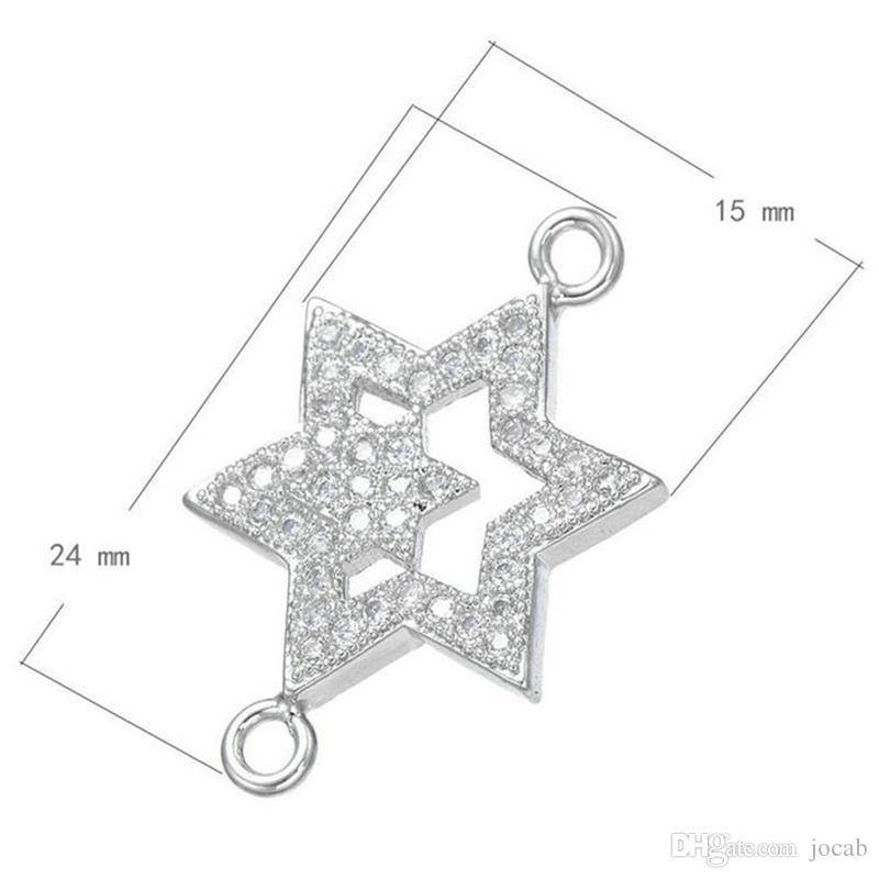 Handgefertigte Schmuck Großhandel DIY Erkenntnisse Zubehör Strass Sterne Charms Connectors Kreis Anhänger Ohrringe Armband Halskette Komponenten