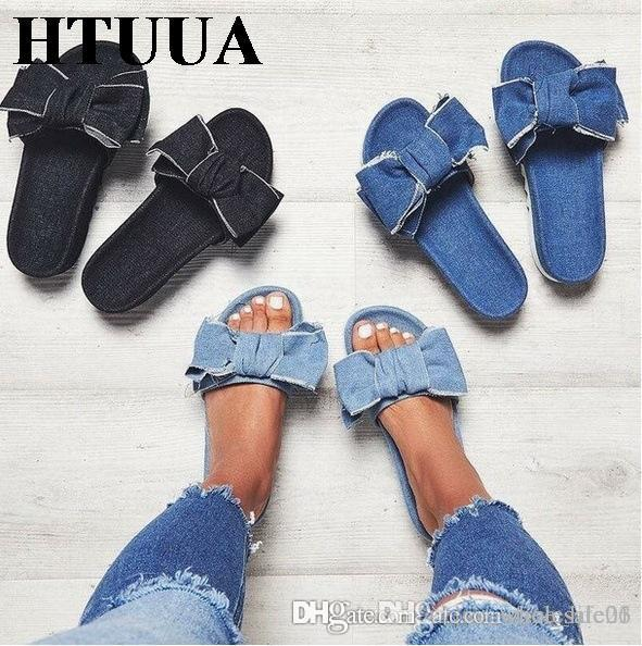 0e46abd3f5b 2019 Lippers Women Denim Slippers Summer Slides Flat Sandals Non Slip  Casual Flip Flops Beach Shoes Home Slippers From Free life03