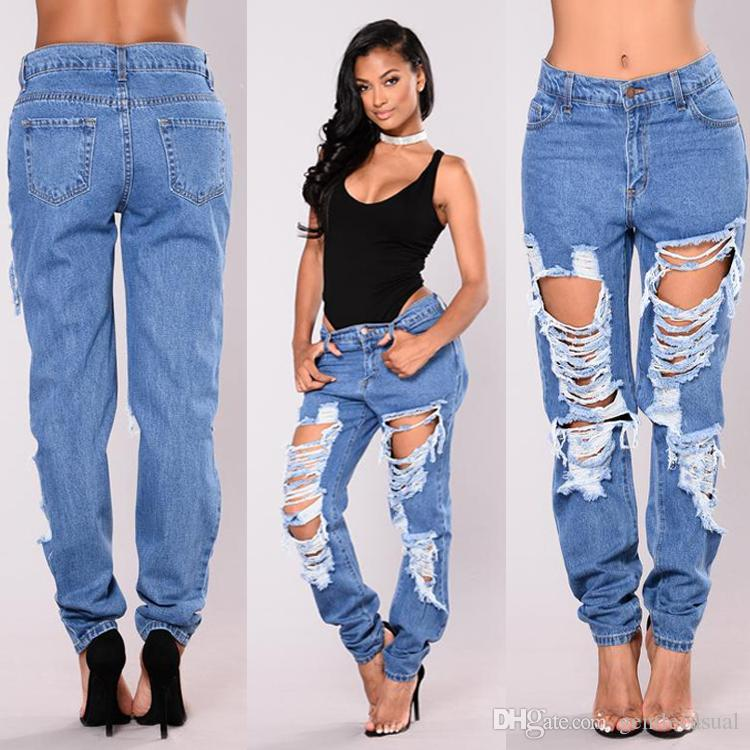c1a26e092f13 2019 Summer Women Jeans Holes Straight Jeans Fashion Denim Blue Long  Trousers Female Clothing From Gentlecasual