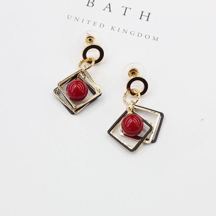 2018 nouvelles boucles d'oreilles géométriques diamant perle femme simple mode boucles d'oreilles sauvages femmes oreille bijoux