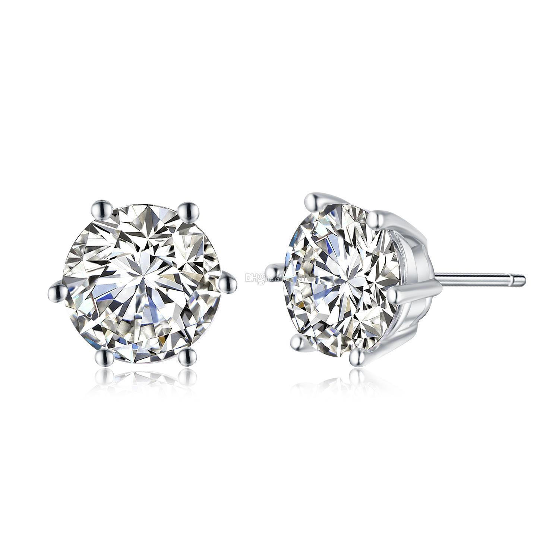 d687d34e7 2019 925 Sterling Silver Six Claw Stud Earrings For Women Fashion White  Zircon Earrings Wedding Jewelry From Jjsilver, $2.66 | DHgate.Com