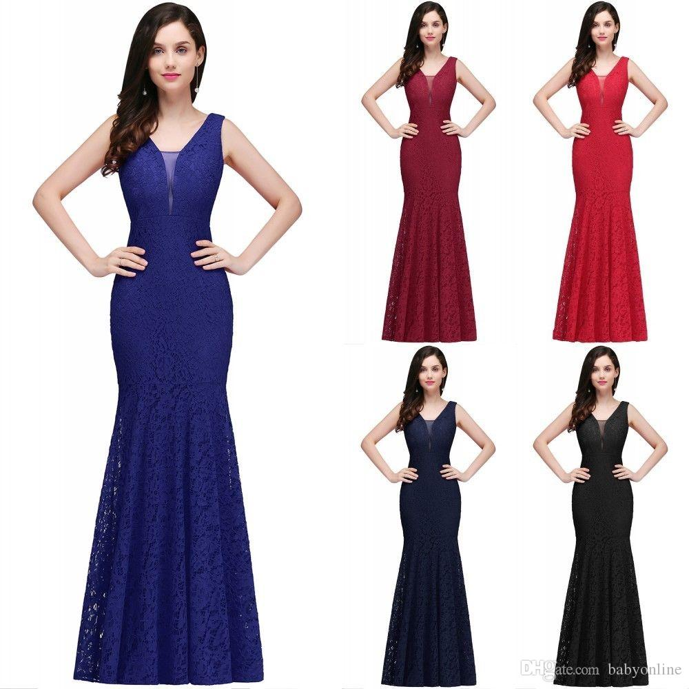 Cheap V Neck Lace Mermaid Long Evening Dresses Sleeveless Fitted Low Back  Party Prom Dresses 2018 Vestido De Festa CPS722 V Neck Lace Mermaid Evening  ... c663086dff7f
