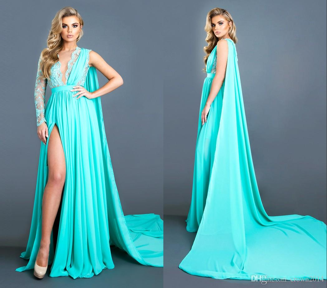 dcaabd6394b 2018 New Light Sky Blue Lace Evening Dresses With Long Cape Chiffon One Long  Sleeve Deep V Neck High Slit Beaded Sexy Formal Party Prom Gown Royal Blue  ...