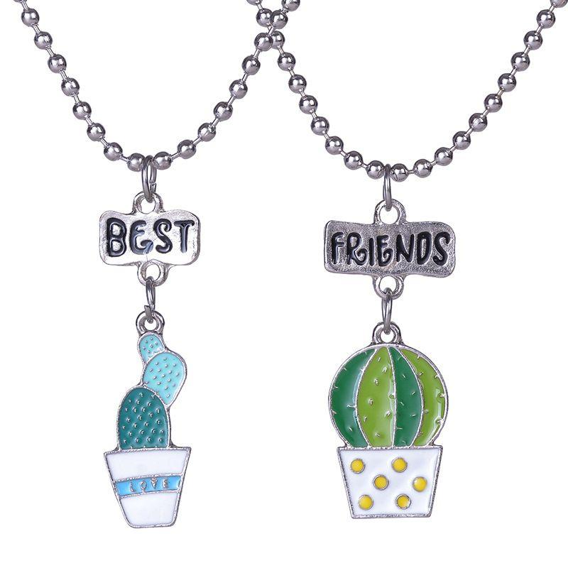 6ba6425eff452 Cartoon Potted Plants Succulent Plant Cactus Necklace Best Friends Pendant  Necklace For Children Kids Gift Jewelry YYZ23