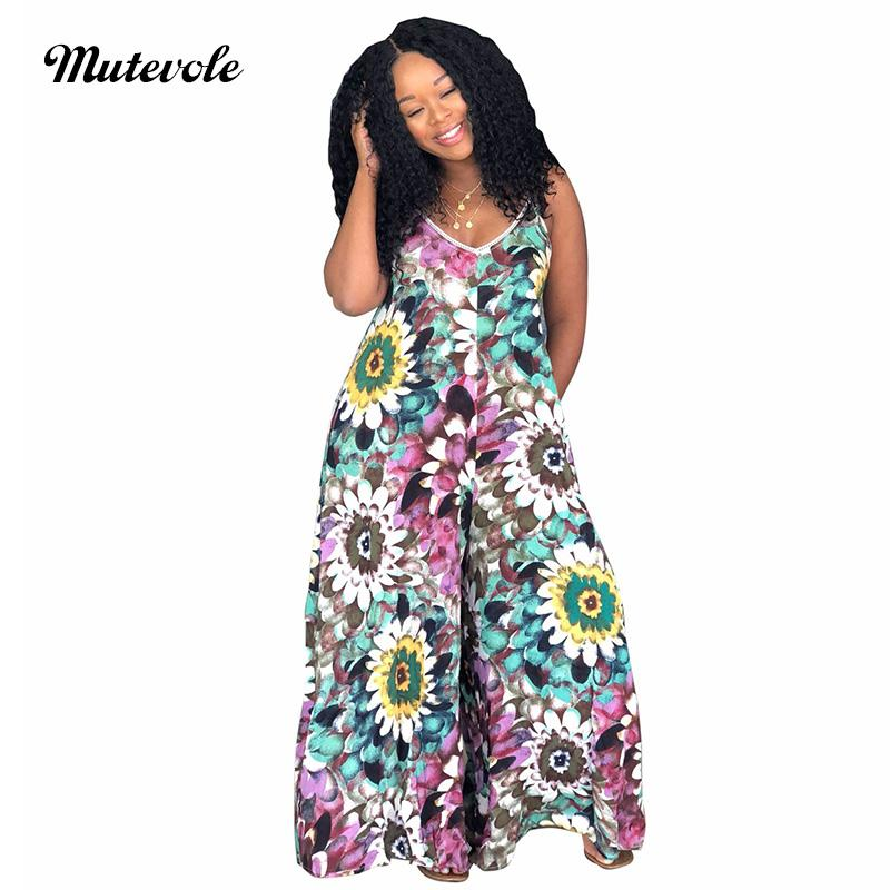 eb6b5d79094 2019 Mutevole PLUS SIZE Summer Floral Print Women Spaghetti Strap Beach  Jumpsuit Casual Loose Sleeveless Wide Leg Jumpsuit Romper From Bclothes002