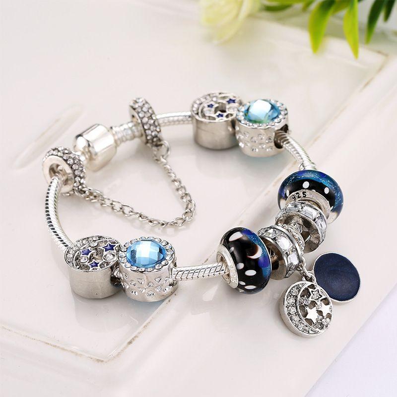 أساور سحر جديدة خرز السماء الزرقاء سوار 925 أساور فضية retro national wind star glaze beads moon Diy مجوهرات