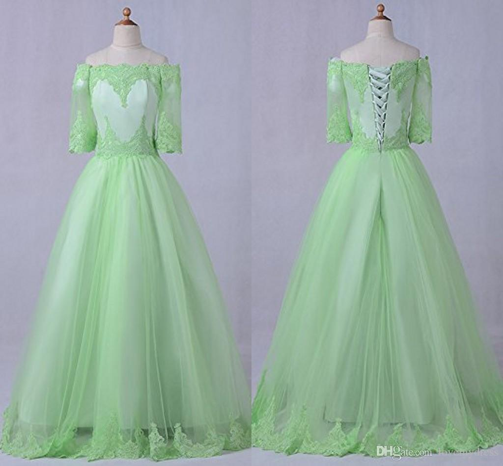 203989ddfc7 Lime Green Vintage Lace Prom Dresses With Sleeves Off The Shoulder Applique  Tulle A Line Corset Back Dresses Evening Wear Party Formal Gowns 80s Prom  Dress ...
