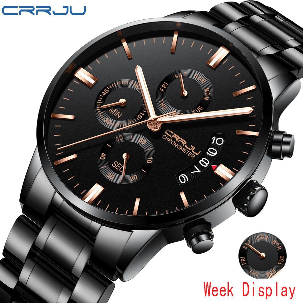 ec152c5d97 Crrju Top Brand Mens Watches Luxury Waterproof Date Quartz Watch Man Stainless  Steel Sport Wrist Watch Men Waterproof Clock Fashion Watches Fine Watches  ...
