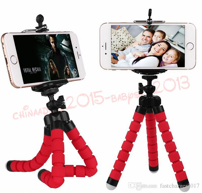 3 col Flexible Tripod Holder For Cell Phone Car Camera Universal Mini Octopus Sponge Stand Bracket Selfie Monopod Mount With Clip by dhl