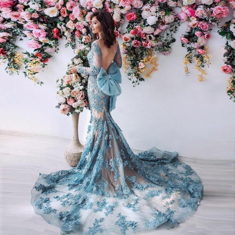 Magnifique robe de soiree Sexy Dos Nu Sirene Robes De Bal Avec Des Manches Longues Dentelle Appliqued Bow Africain Soiree Formelle Porter Court Train