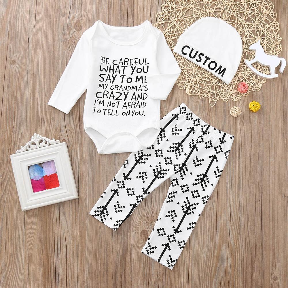467cc8c9d CUSTOM Letter Print Baby Sets Toddler Newborn Baby Long Sleeved ...