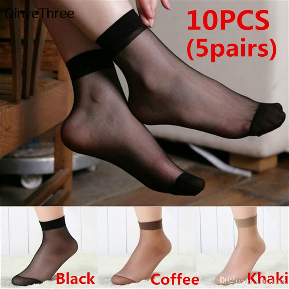 Elegant Women Sexy Ultra-thin Elastic Silky Socks Crystal Short Silk Short Ankle Low Cut Socks Anti snagging (5pairs)