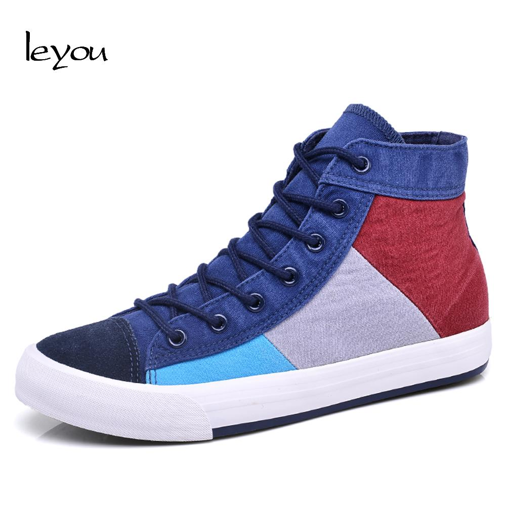 Acquista Leyou New Arrivals Male Canvas Shoes High Top Mens Scarpe Colorate Scarpe  Da Ginnastica Piatte Il Tempo Libero Patchwork A  35.63 Dal Ajshoesstore ... d8c41a46a4f