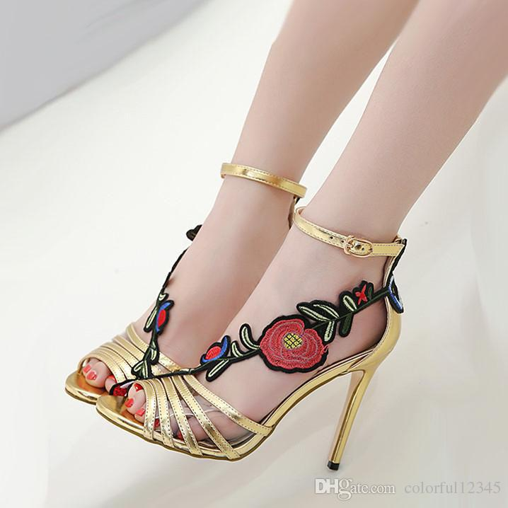 81da91e58e8348 Fashion New Gold Floral Embroiry Flower High Heels Sexy Women Prom Shoes  2018 Summer Size 35 To 40 Hiking Shoes Sperry Shoes From Colorful12345