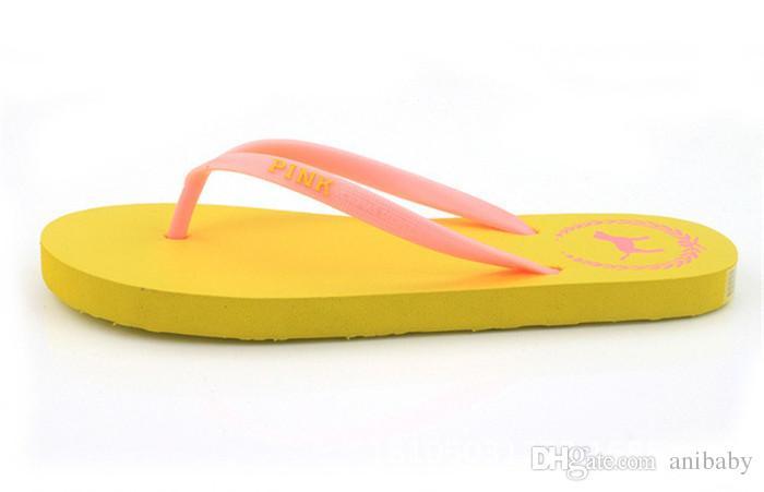 Girls Pink Flip Flops Love Pink Sandals Pink Letter Beach Slippers Shoes Summer Soft Beach Slipper /pair B11