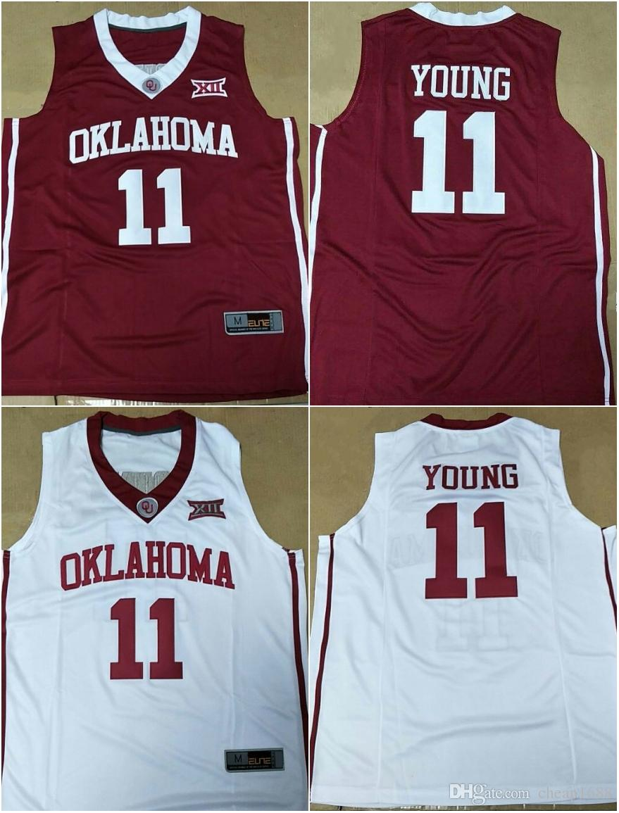 2462f61dfab 2019 NCAA Oklahoma Sooners  11 Trae Young Jerseys Stitched Red White Best  Quality College Basketball S 3XL From Cheap1688