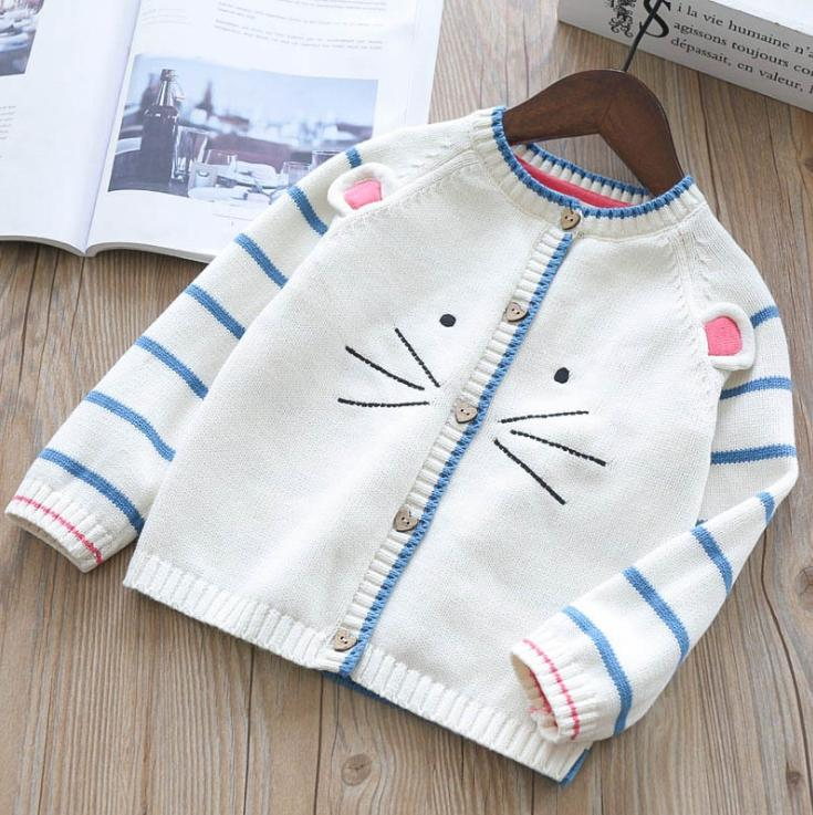 2018 Autumn Girls Cat Embroidery Cotton Striped Sweater Cardigan ...