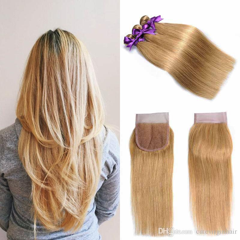 Human Hair Weaves 27# Pure Colored Honey Blonde Bundles With Closure Brazilian Straight Hair Bundles 100% Human Hair Preplucked Lace Closure Remy Moderate Price