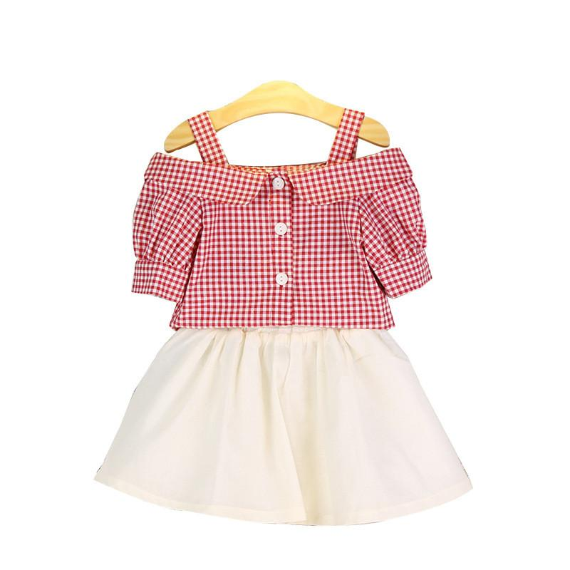 1db4e1ba4 2019 Toddler Girls Summer Clothing Set Princess Plaid Short Sleeve Stripped  Tops+Tulle Skirt Children Kids Clothes Sets 2018 From Friendhi, $22.06 |  DHgate.