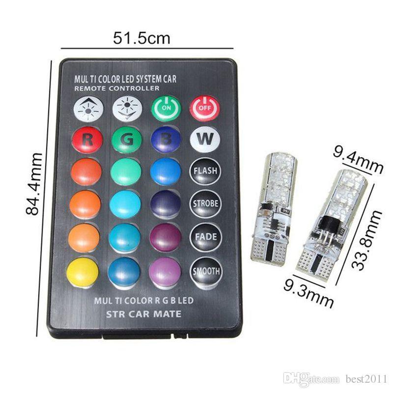 T10 W5W LED Luci auto Lampadine a LED RGB con telecomando 194 168 501 Luci di lettura della lampada a led stroboscopiche Bianco Rosso Ambra 12V