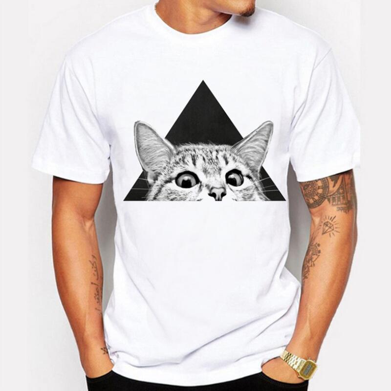 8bec17da Men's T-shirt 2018 Summer Fashion Cat 3D Print Funny t shirt Men's tshirt  male Casual Brand 100% Cotton White men t shirt homme