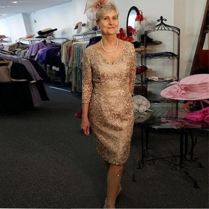 9ef74da71 Dentelle d or mère des robes de mariée robes de mariée à manches longues  robe de soirée courte pour la demoiselle d honneur robes de soirée ...