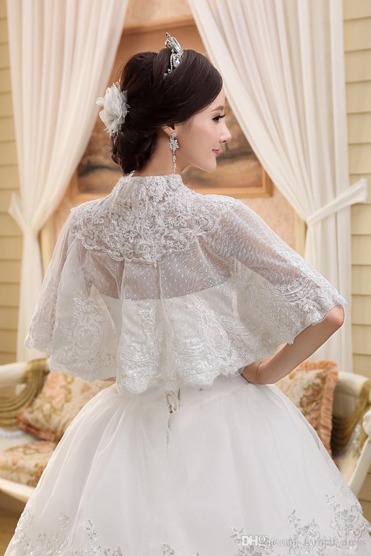 Elegant High Neck Button Wedding Bridal Wraps & Jackets Ivory Dot Tulle Fabric Lace Appliques Cap Sleeves Cloak Short Shawls for Dress
