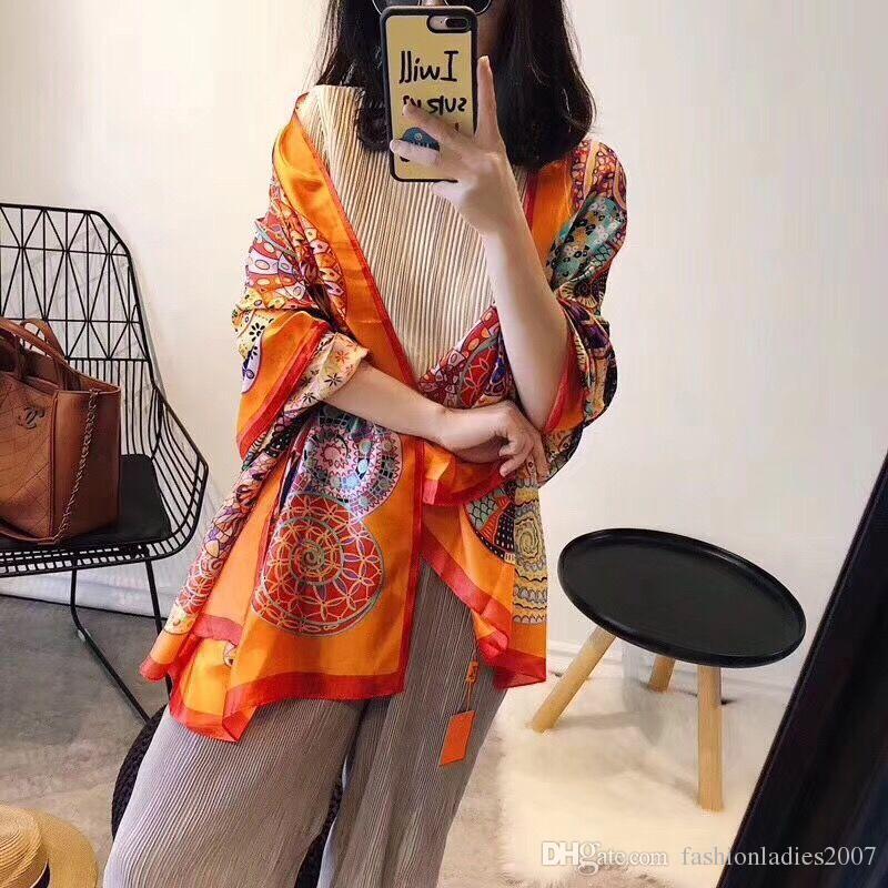 Marque Foulard soie châle des femmes de haute qualité marque colorée Pashmina mode scarfs long anneau cadeau de Noël gros A16