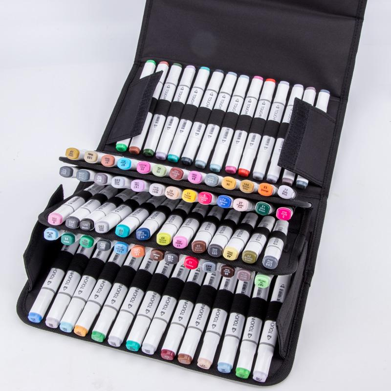 69c4c5af97f9 80Holder Large Capacity Folding Marker Pen Case Canvas Art Markers Pen  Storage Carrying Bag Durable Sketch Tools Organizer