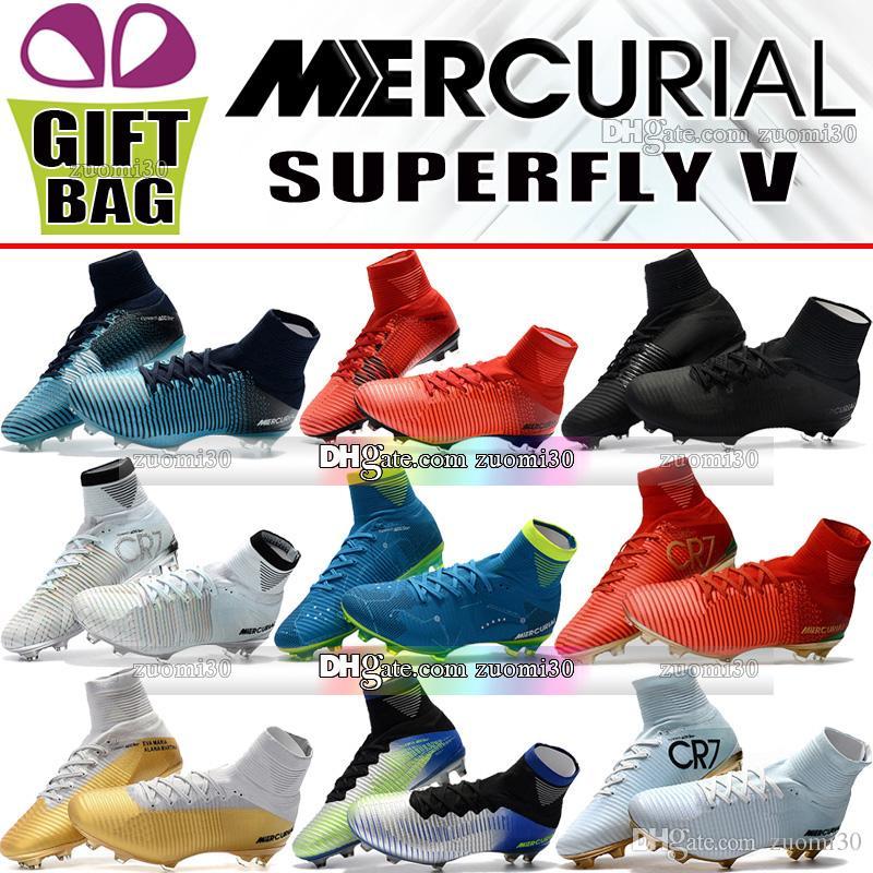 cdcb9243e9f214 Acquista Scarpe Da Calcio Mercurial Superfly V Cr7 Neymar Jr Fg Ag Acc Scarpe  Da Calcio Cristiano Ronaldo New Soccer Cleats Calze Da Calcio A $45.73 Dal  ...