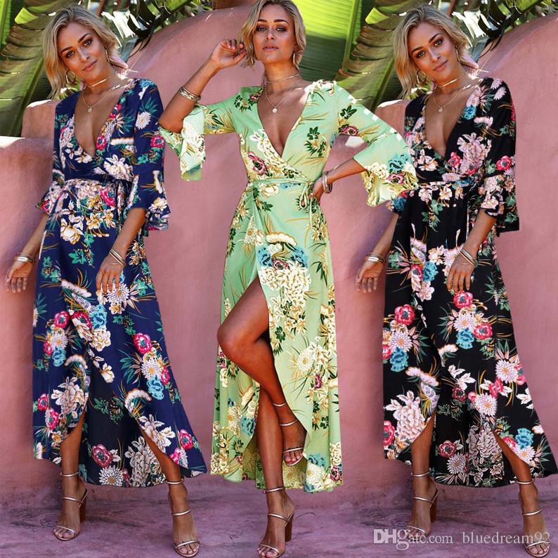 7dfa22c3a4c Fashion Women Maxi Dress Speaker Sleeve Summer Long Dresses Bohemian ...