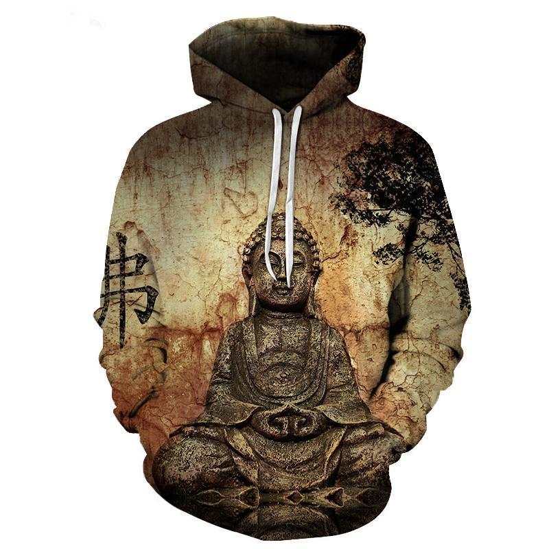74ab189bec061 2018 NEW FASHION MEN WOMEN Buddha Statue Brown BG HOODIE3D Hoodie ...