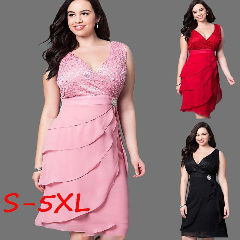 2018 Plus Size Women\'S Fashion Sleeveless V Neck Semi Formal Midi ...