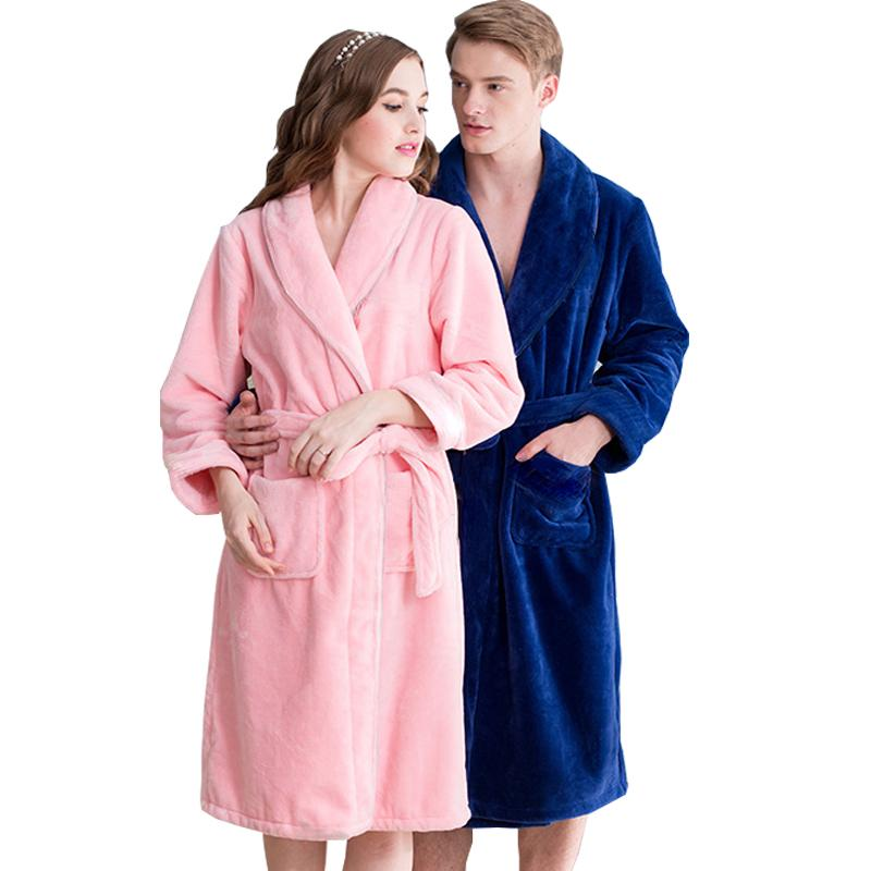 2018 Hot Sale Lovers Silk Flannel Warm Long Bathrobe Women Dressing ...