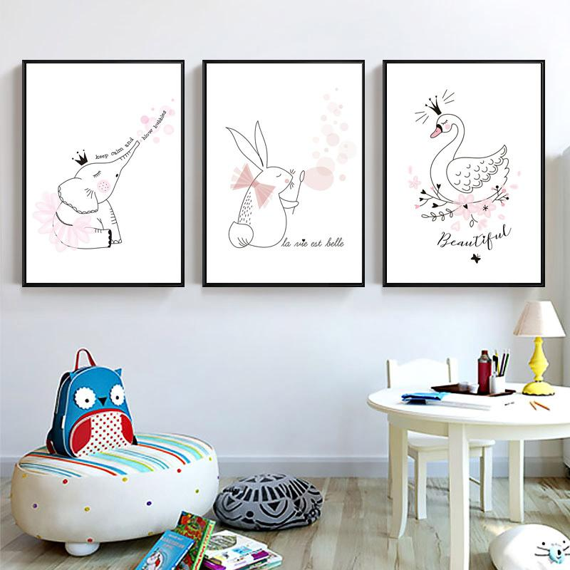 Superb Nordic Style Prints Posters Kids Room Cute Animal Pink Swan Rabbit Pictures  Decoration Home Modern Unframed Wall Canvas Painting UK 2019 From Aliceer,  ...