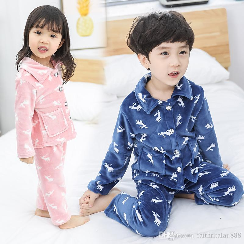 Kids Clothes Autumn Winter Coral Fleece Children Pajamas Sets ... e9e499cdb