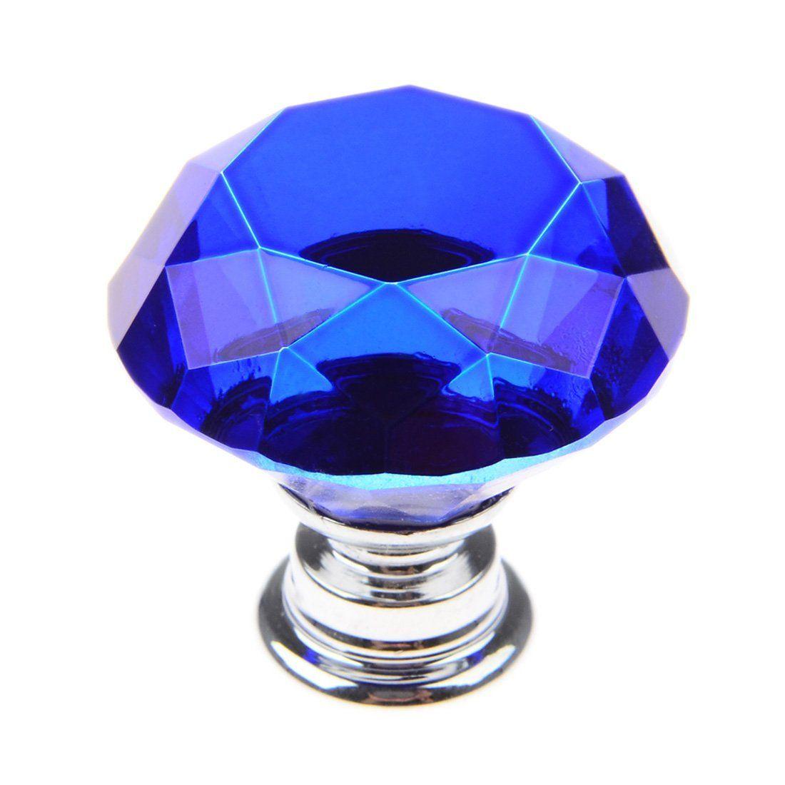 30mm Crystal Glass Diamond Shape Cabinet Knobs Cupboard Drawer Pull Handles - Dark Blue