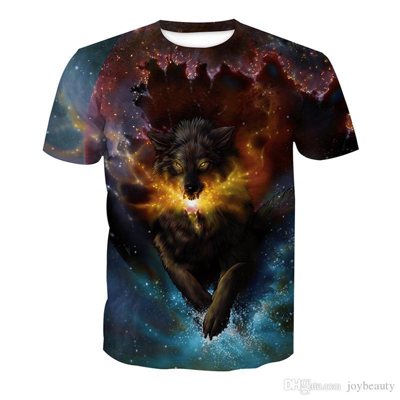 82a6da42 Men T Shirt Fire Wolf 3D Full Print Man Casual Tops Unisex Short Sleeves  Digital Graphic Tee Shirt Tees T Shirts Blouse RLT 2120 Crazy Tee Shirts  Novelty T ...