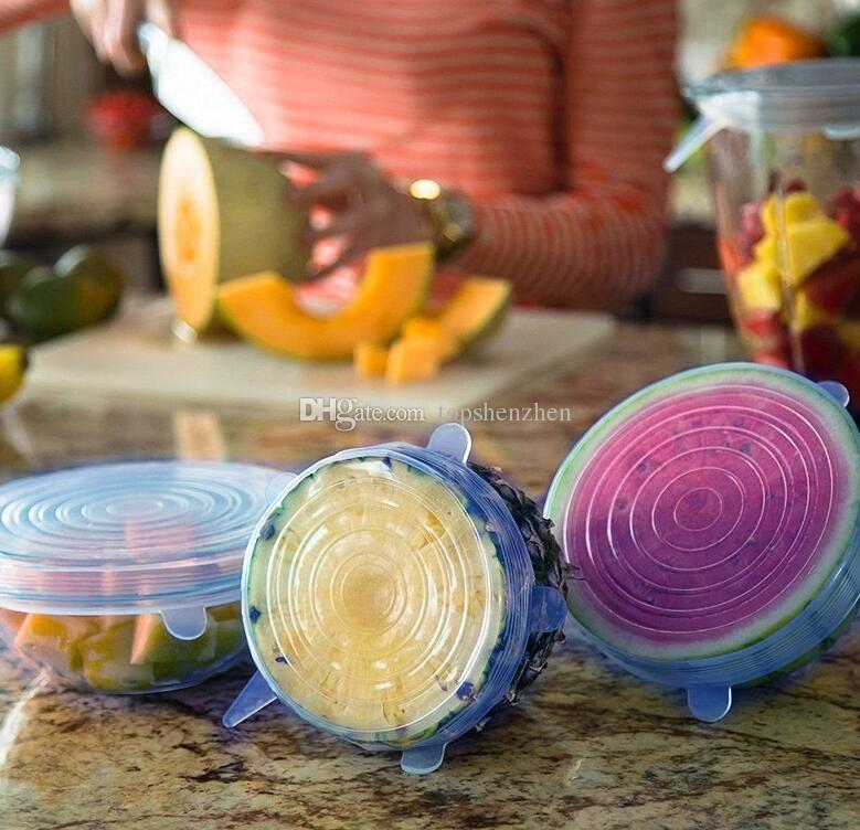 6 adet / takım silikon streç kapaklar evrensel kapak Silikon gıda sarma kase pot kapak silikon kapak tava pişirme Mutfak aksesuarları