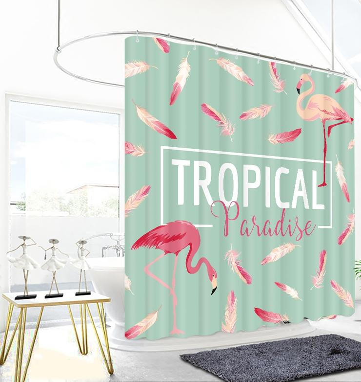2019 TROPICAL Jane Europe Flamingo Photo Print Shower Curtain Modern Simple Mediterranean From Caronline 2752