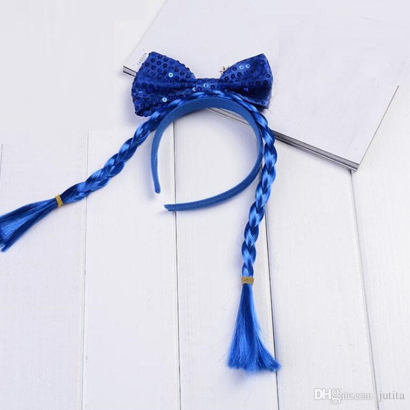 2018 New Long Braids Sequins Bowknot Headband Children Girls Hairband Headwear Birthday Christmas Party Favor